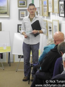 Steve reading out his poetry at Andover Celebration of National Poetry Day