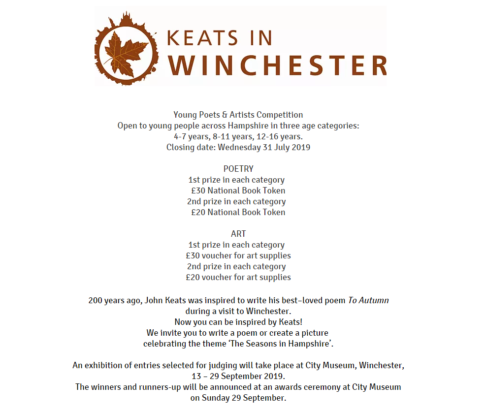 winchester poetry competition Jan 2019
